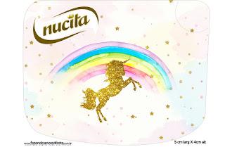 Etiqueta Nucita de Fiesta de Unicornios para imprimir gratis.