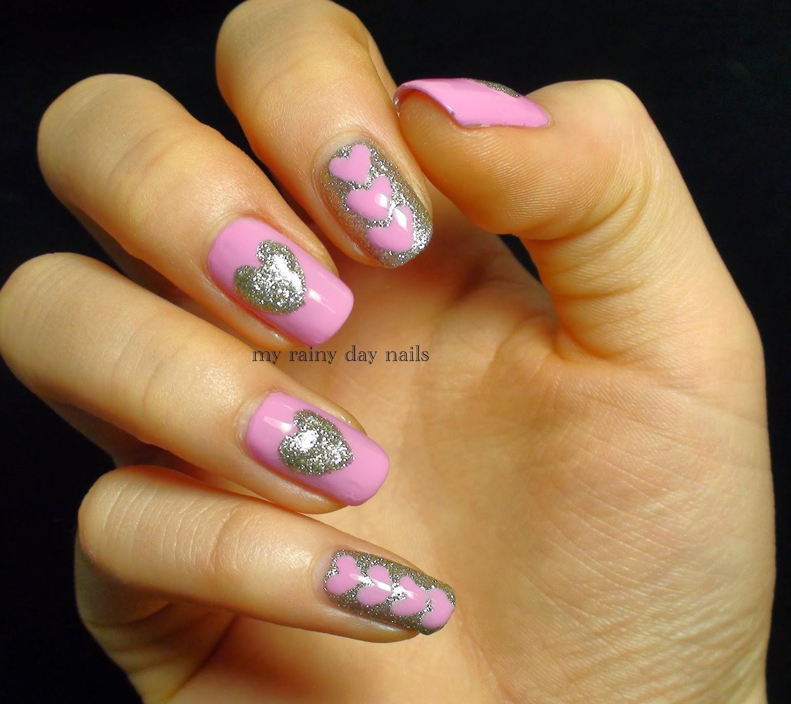 Nail Art February Challenge: My Rainy Day Nails: Nail Art Feb Challenge- Hearts