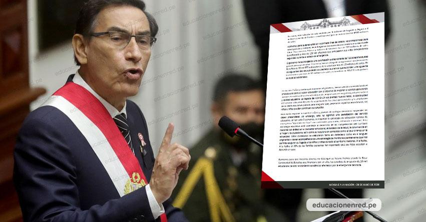 MENSAJE A LA NACIÓN: Esto dijo el presidente Vizcarra sobre Educación