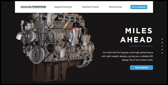 Screenshot of the PACCAR Powertrain website