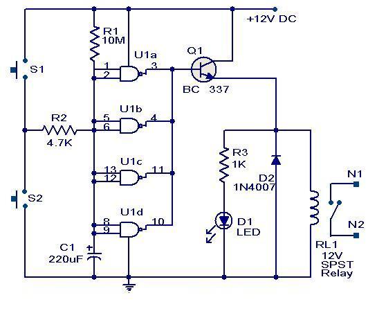 Quad 2 input CMOS IC 4011 Timer CircuitFree electronic circuit