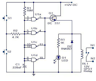 Quad 2 Input Cmos Ic 4011 Timer Circuit My Electronic electrical