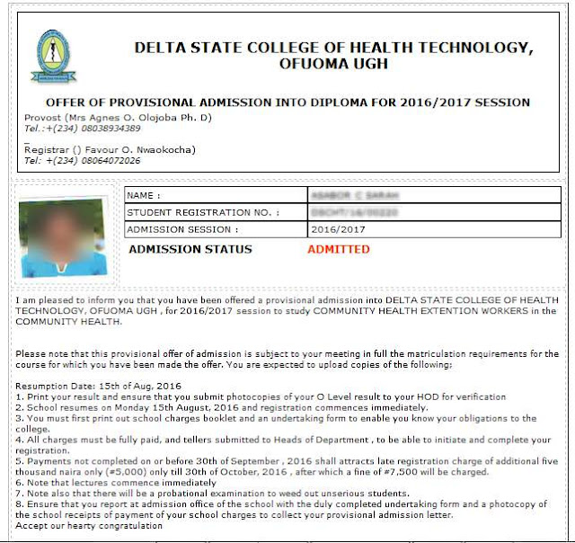 School of Health Technology Ofuoma  Admission Letter