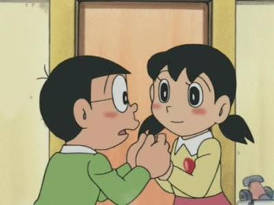 Nobita and Shizuka eye to eye seeing love