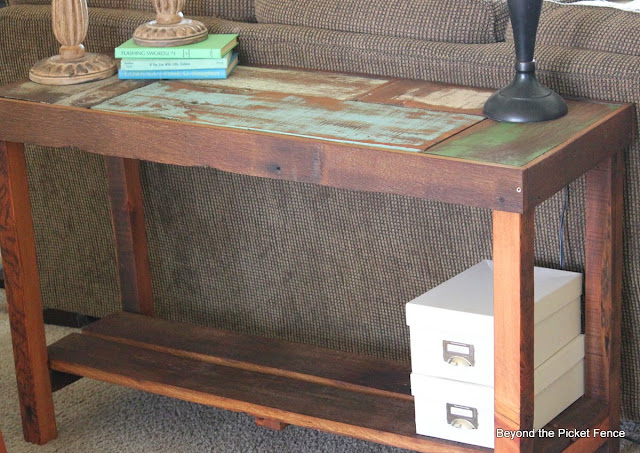 reclaimed wood sofa table made from scraps