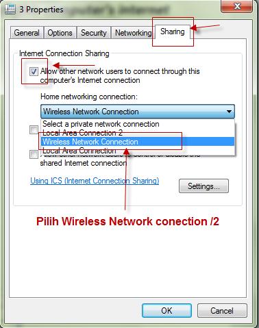 Share Internet Dengan Laptop