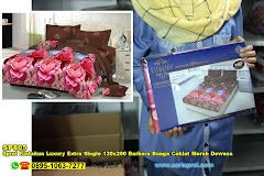 Sprei Kintakun Luxury Extra Single 120×200 Barbara Bunga Coklat Merah Dewasa