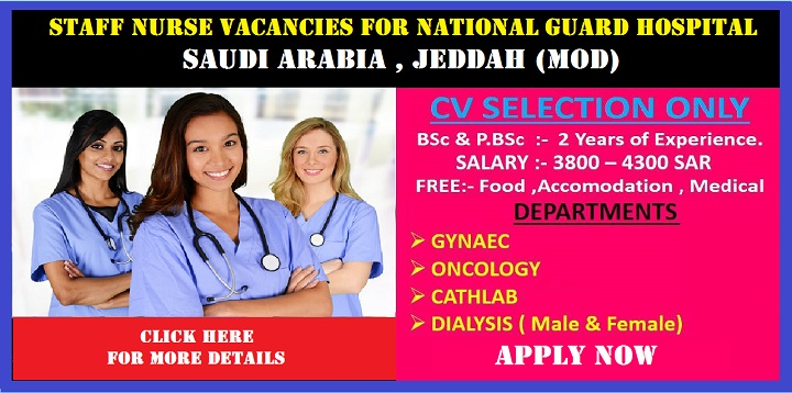 Staff Nurse Vacancies For National Guard Hospital Saudi – Desenhos
