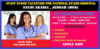 Staff Nurse Vacancies for National Guard Hospital Saudi Arabia (MOD)