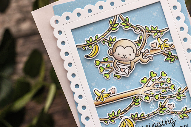 Sunny Studio Stamps: Frilly Frames Love Monkey Birthday Card by Eloise Blue