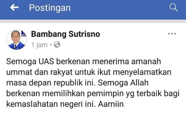 Demi Kemaslahatan Negeri, PAN Berharap UAS Mau Menerima Amanat Cawapres Prabowo