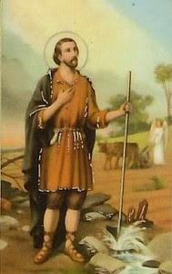 En la imagen San Isidro Labrador, al dondo un angel arando la tierra.