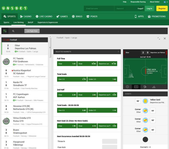Unibet Live Betting Screen
