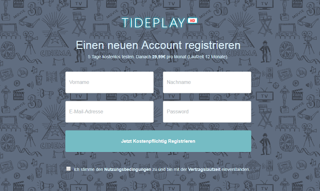 "Screenshot: Registrierung auf ""Tideplay.de"""
