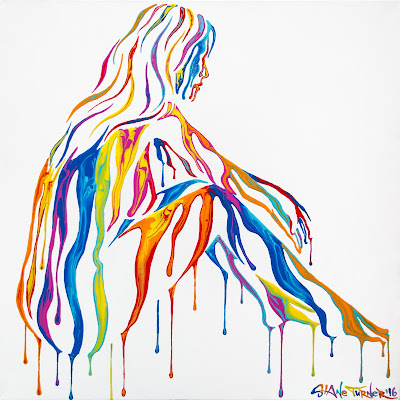 Painting of a seated woman relaxing, chilling, with her hair down. Image made of dripping colorful rainbow acrylic paint.