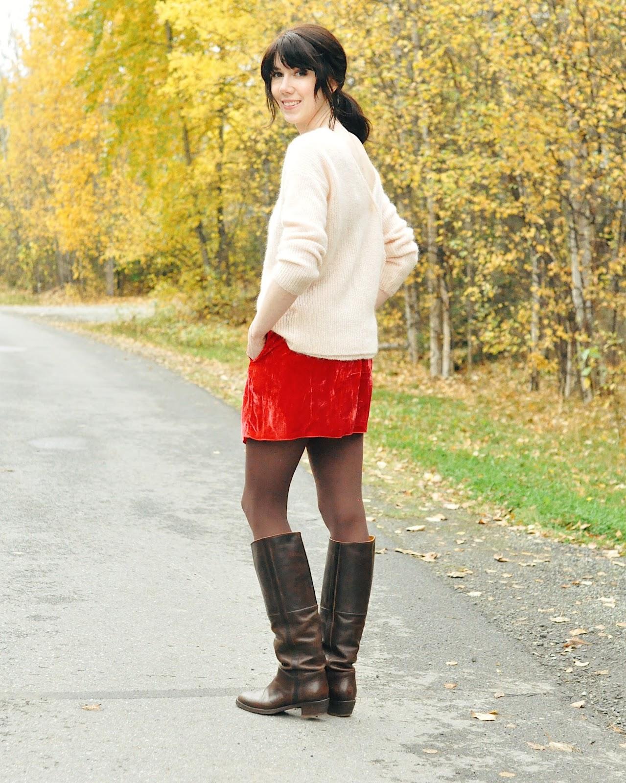 sezane sophie sweater isabel marant velvet skirt outfit idea