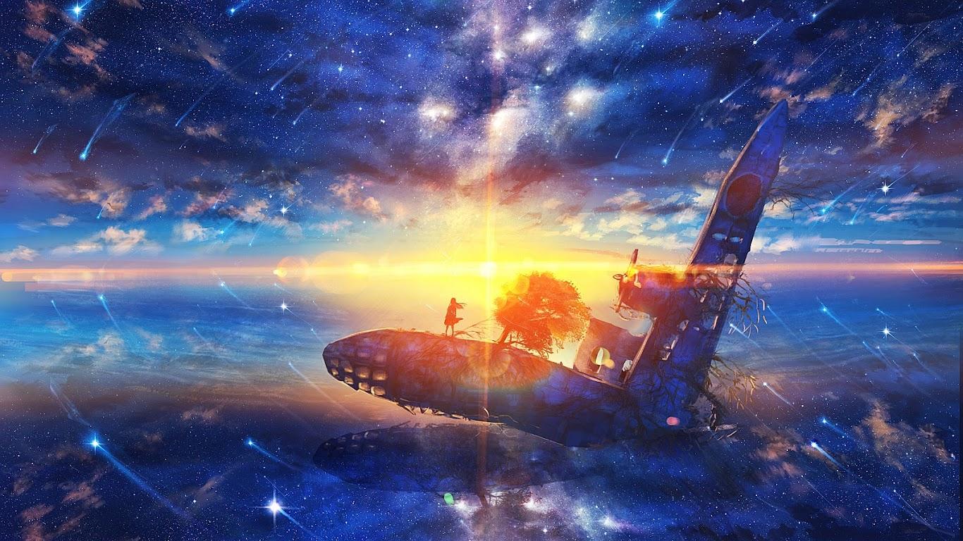 Sunrise, Anime, Scenery, Horizon, Stars, 4K, #181 Wallpaper