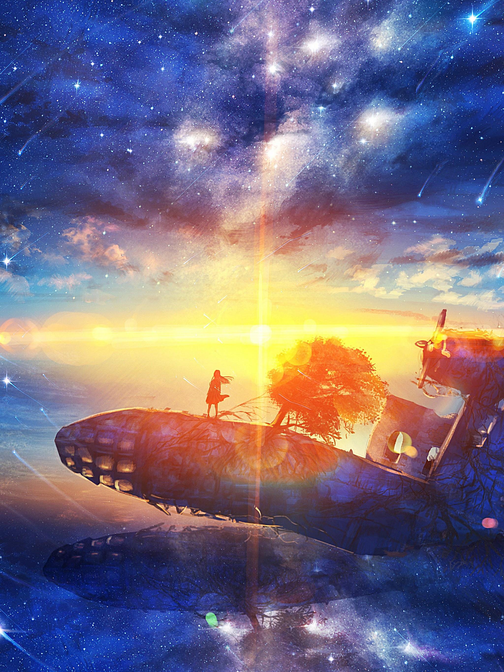 Sunrise Anime Scenery Horizon Stars 4k Wallpaper 181