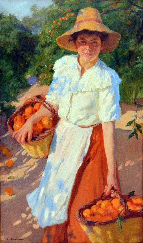 Laureano Barrau Buñol, Campesina con naranjas, Mujer con manton amarillo, Pintura española, Pintor Catalán
