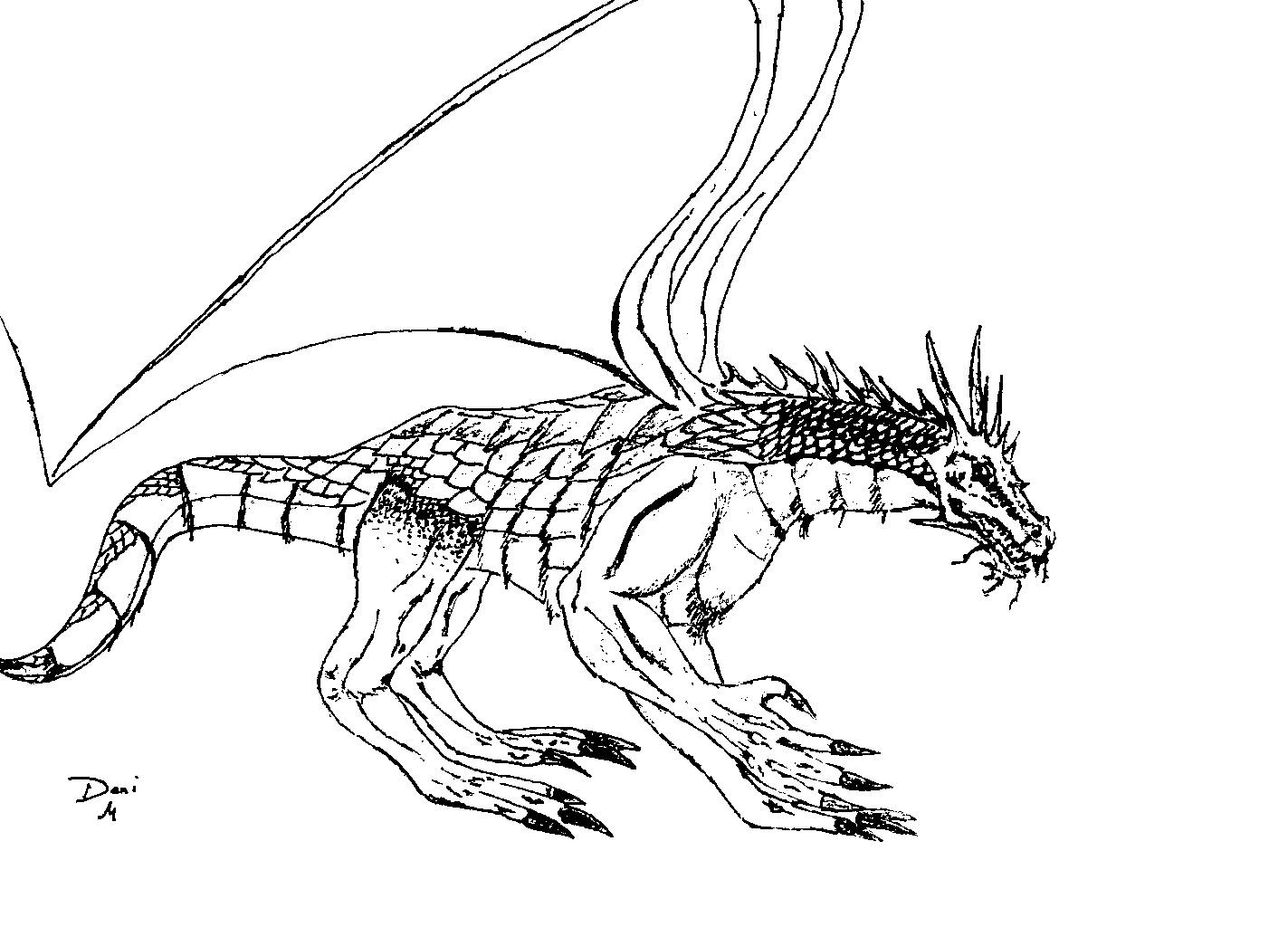 Coloring Page World: Scaly Dragon (Landscape)