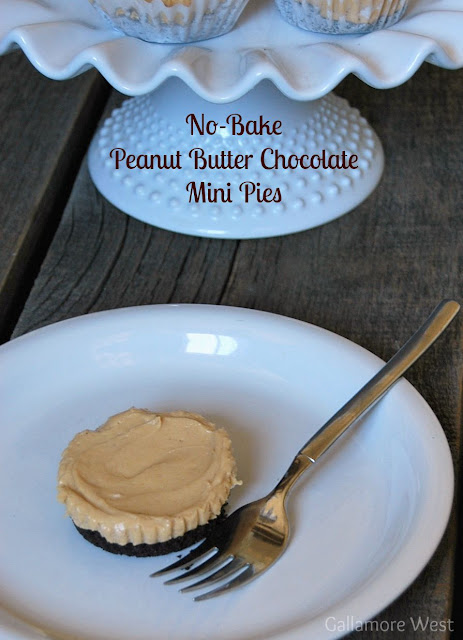 No Bake Mini Peanut Butter Chocolate Pies -- Tatertots and Jello