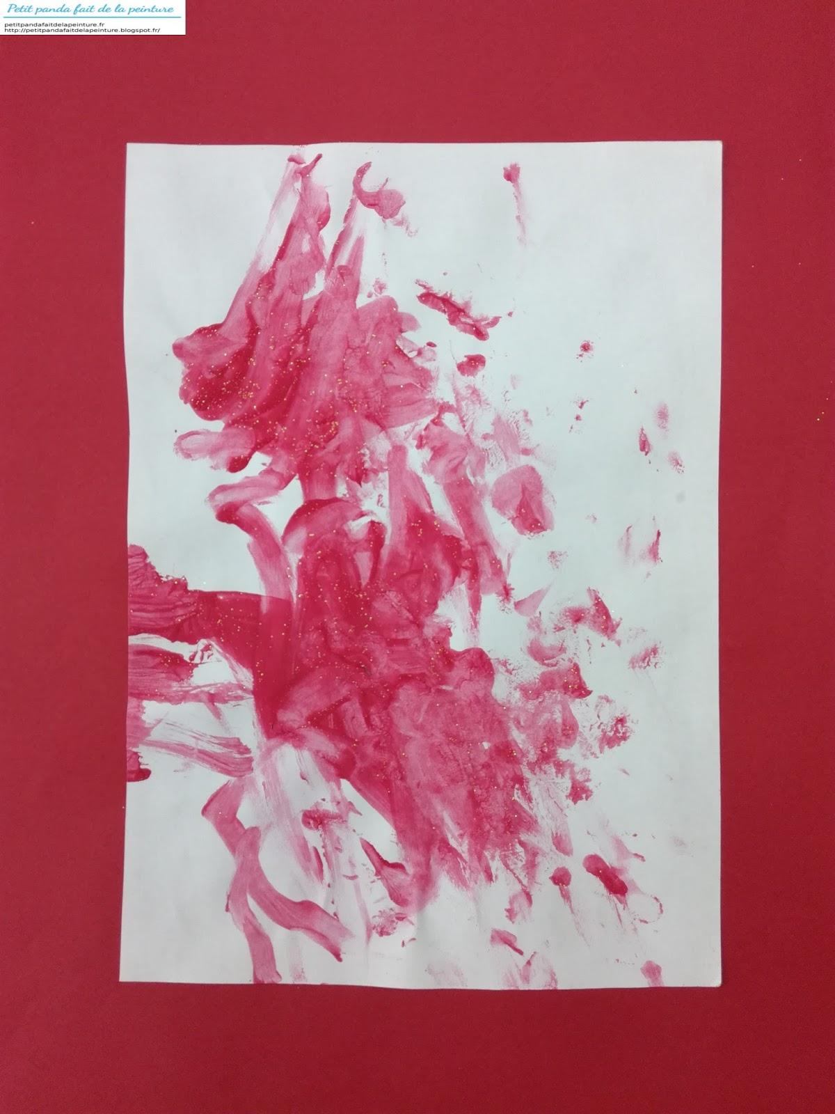 Petit panda fait de la peinture une premiere peinture de noel par un enfant de 1 an - Peinture de noel ...