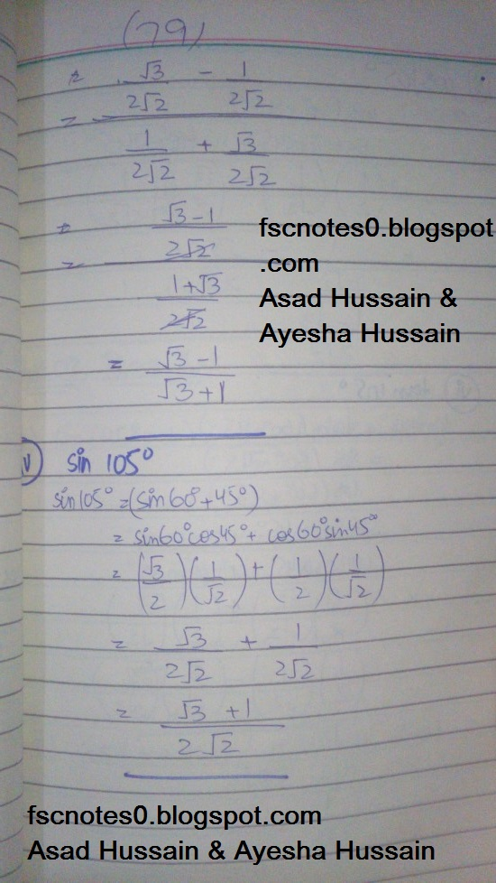 FSc ICS FA Notes Math Part 1 Chapter 10 Trigonometric Identities Exercise 10.2 Question 2 Written by Asad Hussain & Ayesha Hussain 2