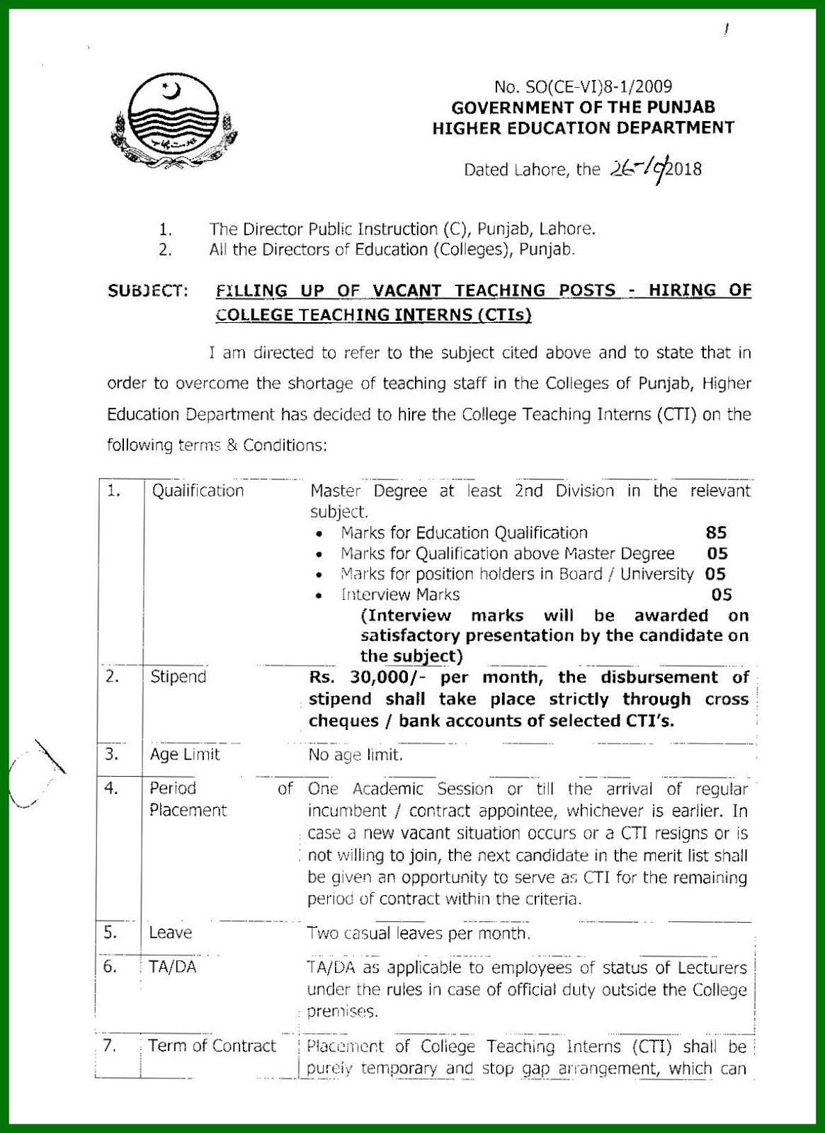 CTI Jobs in Punjab 2018-19 Criteria, Sample Application Form