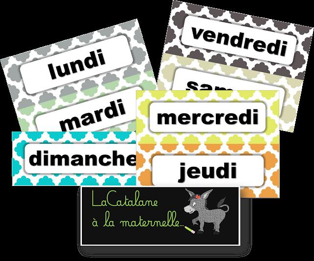 Jours de la semaine - étiquettes script calendrier perpétuel (LaCatalane)