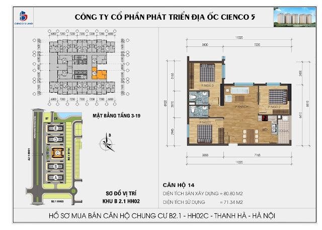 Mặt bằng căn hộ số 14 tòa HH02C khu B2.1 Thanh Hà Mường Thanh