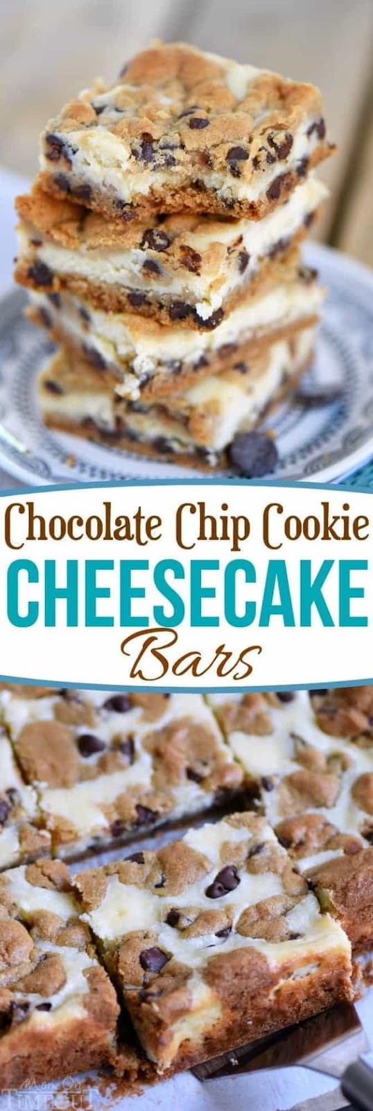 These easy Chocolate Chip Cookie Cheesecake Bars are made with just five ingredients! This easy dessert recipe will satisfy all your cravings and is PERFECT for parties, bake sales, cookie trays and more! // Mom On Timeout #desserts #dessert #baking #cheesecake #chocolate #chocolatechipcookies #bars #sweets #cookies #easy #recipe #recipes #momontimeout