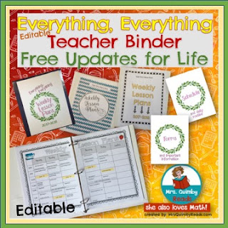editable teacher binder, weekly lesson plans, back-to-school teacher binder, MrsQuimbyReads, Monthly Newsletter
