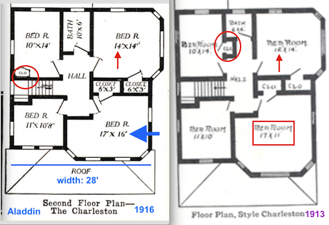comparison of 1916 vs 1913:Evolution of the Aladdin Charleston's second floor
