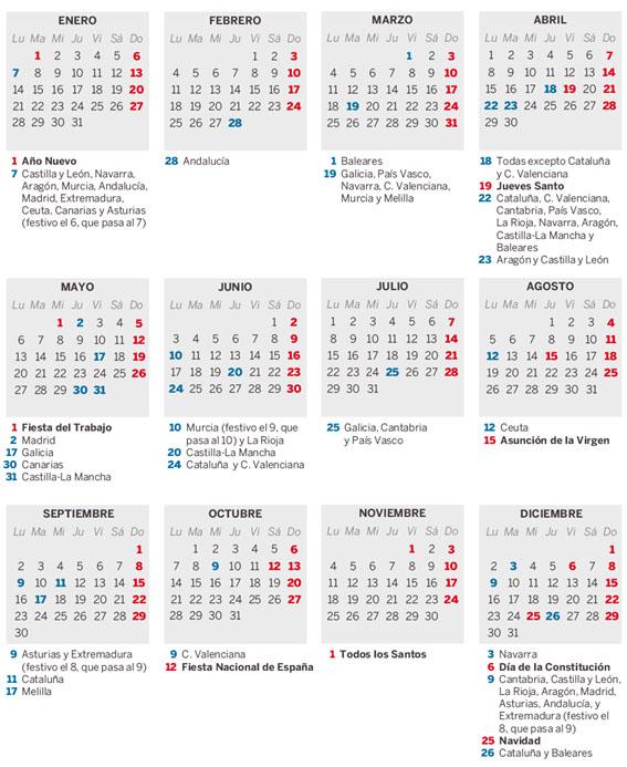 Calendario Laboral 2019 Andalucia.Calendario Laboral 2019 Todos Los Dias Festivos De Tu Comunidad