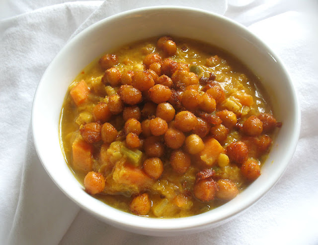 lentils with roasted chickpeas