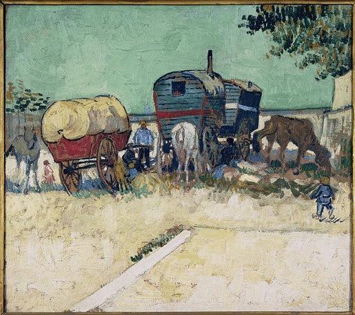 Van Gogh - Caravana de gitanos cerca de Arles - 1888