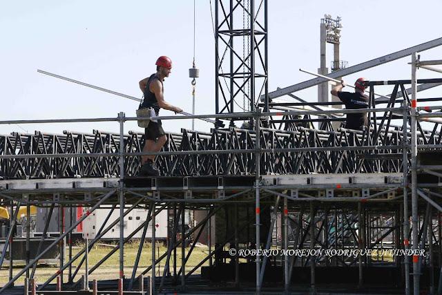 Preparativos del escenario del concierto de Los Rolling Stones (viernes 25 de marzo) en los terrenos de la Ciudad Deportiva, en La Habana, Cuba, el 9 de marzo de 2016.