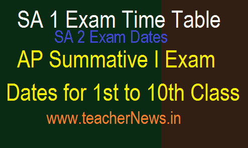 AP Schools SA 1 SA 2 Exam Dates Holidays Schedule in Andhra Pradesh