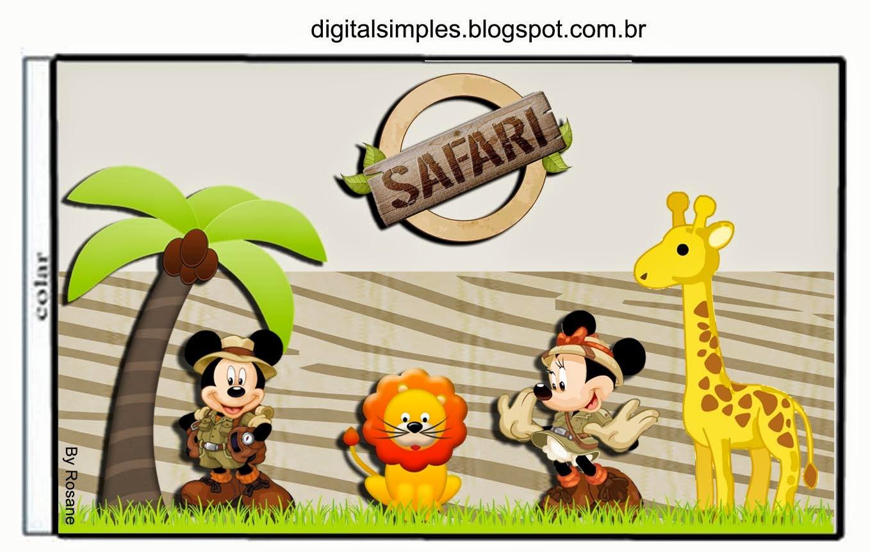 Etiquetas de Mickey y Minnie de Safari para imprimir gratis.