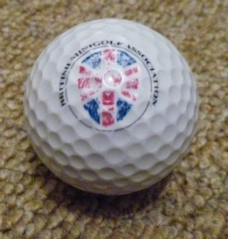 A British Minigolf Association golf ball used at the 2013 World Crazy Golf Championships in Hastings