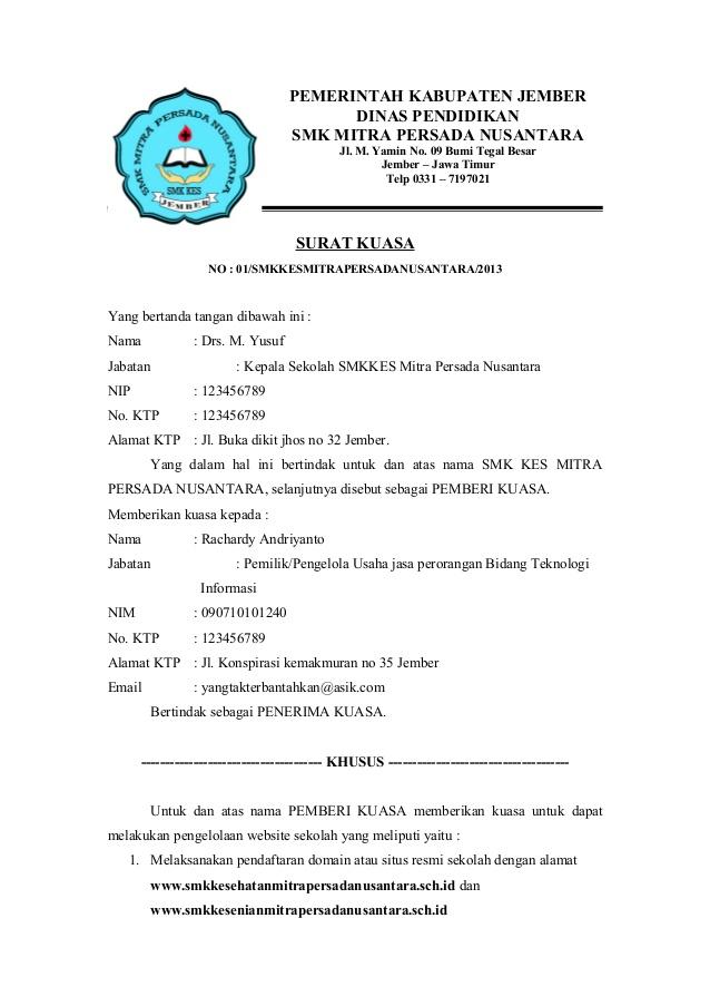 contoh surat dagang dan surat kuasa 2019 kumpulan contoh