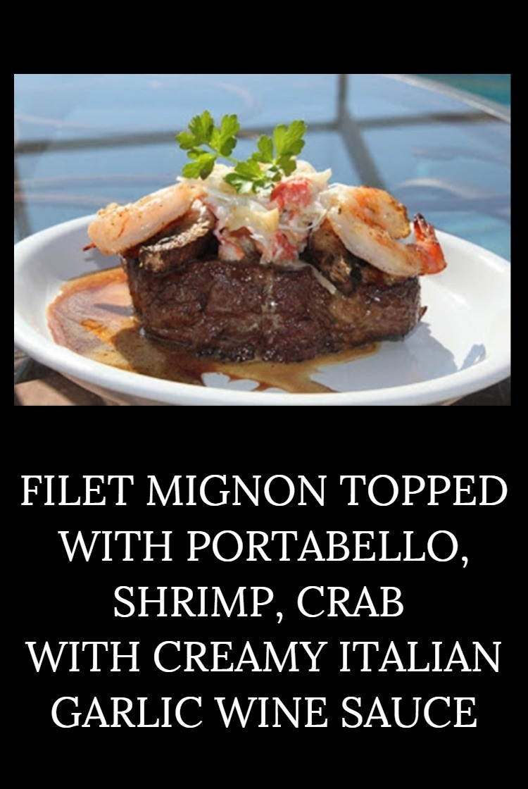 Filet Mignon topped with crab meat, shrimp and a delicious garlic gourmet sauce on the grill