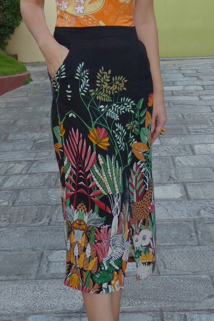 Close up of the jungle print skirt