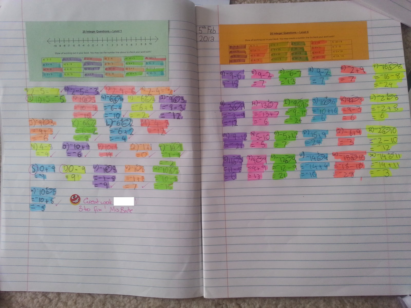 Bayside Math Teacher Bookwork Expectations Amp Integers