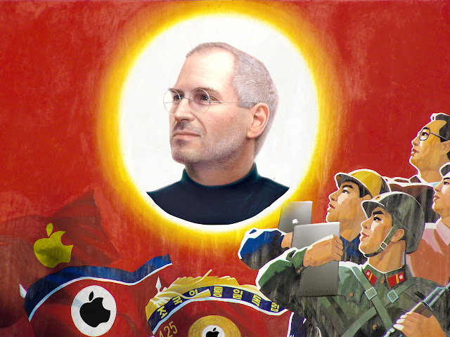Image of a North Korean propaganda mural, with Kim Jong-il replaced by Steve Jobs, and all iconography replaced with Apple logos