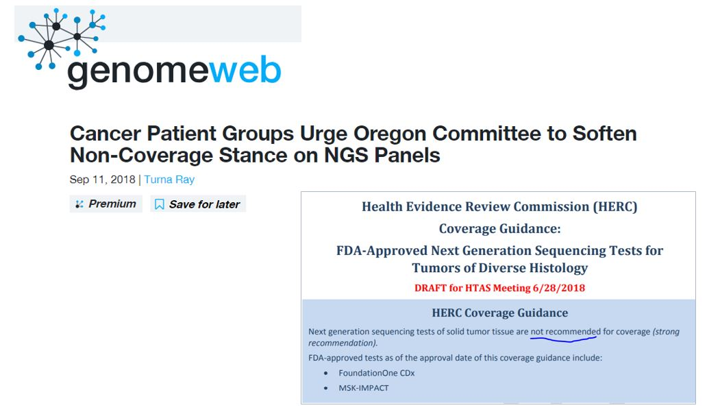 Discoveries in Health Policy: News Watch: Genomeweb Article
