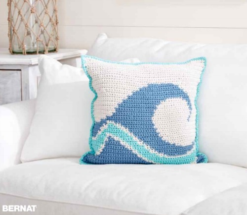Coastal Beach Wave Crochet Pillow Idea