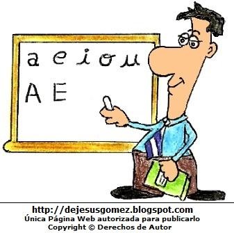 Dibujo de un profesor de inicial escribiendo en su pizarra. Dibujo del profesor hecho por Jesus Gómez