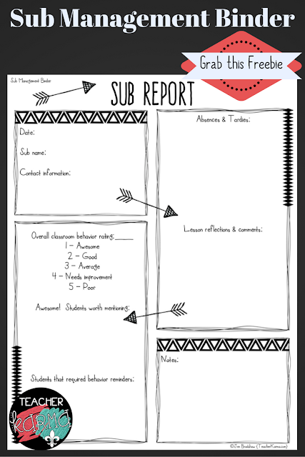 Sub Report for your sub management binder or SUB TUB. Free resource. TeacherKarma.com