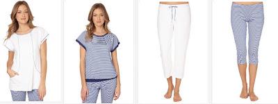 Top en blanco y azul con pantalones pirata a juego.